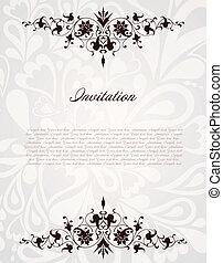 frame., vendemmia, illustrazione, vettore, fondo, floreale