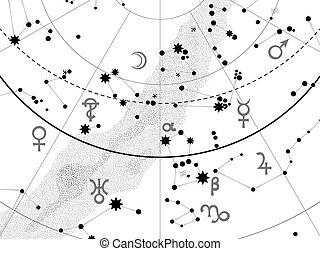 frammento, atlante, astronomico, celestiale