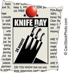 frammento, classifieds, giorno, coltello