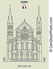 france., abbazia, punto di riferimento, reims, icona, saint-remi