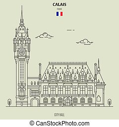 france., calais, punto di riferimento, municipio, icona