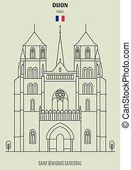 france., cattedrale, benignus, punto di riferimento, santo, icona, dijon