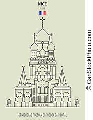 france., cattedrale, nicholas, punto di riferimento, ortodosso, icona, russo, bello, st