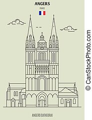 france., cattedrale, punto di riferimento, angers, angers, icona