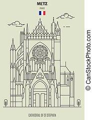 france., cattedrale, punto di riferimento, metz, icona, st, stephen