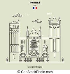 france., cattedrale, punto di riferimento, pietro, santo, icona, poitiers