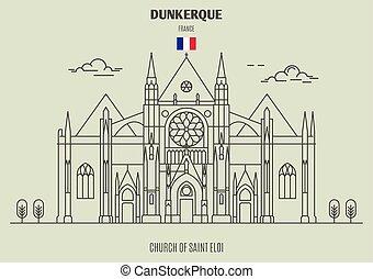 france., chiesa, punto di riferimento, dunkerque, eloi, santo, icona