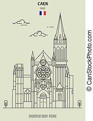france., chiesa, punto di riferimento, saint-pierre, icona, caen
