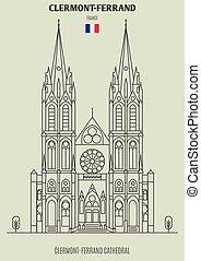 france., clermont-ferrand, punto di riferimento, icona, cattedrale