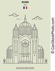 france., clotilde, punto di riferimento, basilica, reims, santo, icona