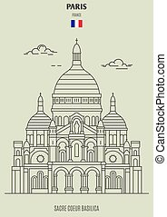 france., coeur sacre, punto di riferimento, basilica, icona, parigi