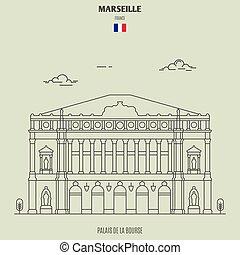 france., de, bourse, marseille, punto di riferimento, icona, palais