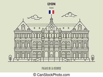 france., de, bourse, punto di riferimento, icona, palais, lyon