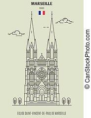 france., de, eglise, marseille, punto di riferimento, saint-vincent-de-paul, icona