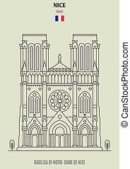 france., de, notre-dama, punto di riferimento, basilica, icona, bello