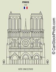 france., de, notre-dama, punto di riferimento, icona, parigi