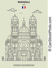 france., mary, cattedrale, marseille, punto di riferimento, maggiore, santo, icona