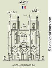france., nantes, cattedrale, paul, punto di riferimento, pietro, icona, st.