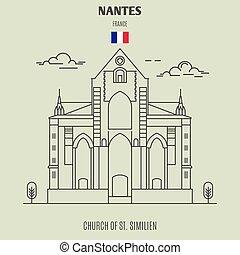 france., nantes, chiesa, similien, punto di riferimento, icona, st.