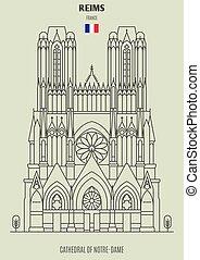 france., notre-dama, cattedrale, punto di riferimento, reims, icona
