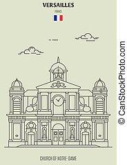 france., notre-dama, chiesa, punto di riferimento, icona, versailles