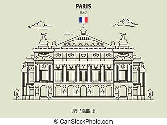 france., punto di riferimento, icona, garnier, opera, parigi
