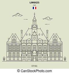 france., punto di riferimento, limoges, municipio, icona