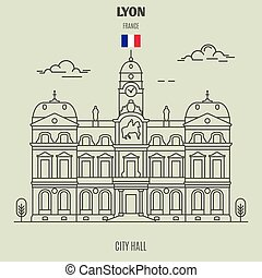 france., punto di riferimento, municipio, icona, lyon