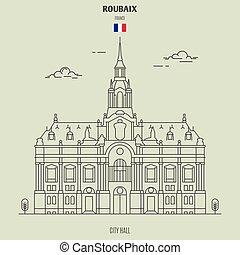 france., punto di riferimento, municipio, icona, roubaix