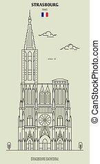 france., punto di riferimento, strasburgo, icona, cattedrale