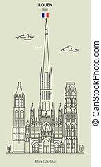 france., rouen, punto di riferimento, icona, cattedrale