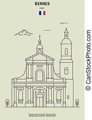 france., sauveur, rennes, punto di riferimento, basilica, santo, icona