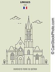 france., st-pierre-du-queyroix, chiesa, punto di riferimento, limoges, icona