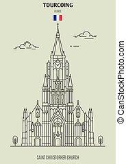 france., tourcoing, chiesa, punto di riferimento, christopher, santo, icona