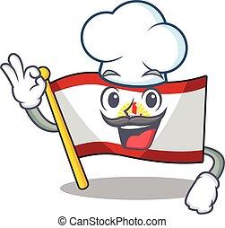 francese, rotolo, carattere, bianco, polynesia, il portare, cappello, bandiera, chef, cartone animato, divertente