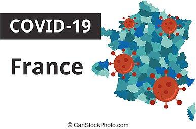 francia, bandiera, covid-19, mappa, arte