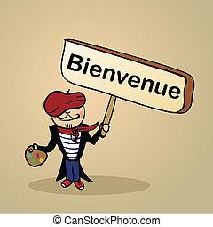 francia, benvenuto, disegno, persone