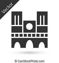 francia, dama, grigio, fondo., punto di riferimento, bianco, notre, isolato, icona, de, vettore, parigi