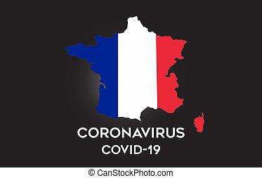 francia, dentro, bordo, vettore, bandiera, virus, mappa, paese, corona, design.