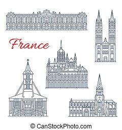 francia, disegno, magro, punto di riferimento, linea, viaggiare, icona
