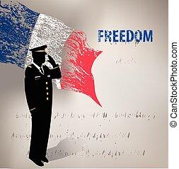 francia, grunge, bandiera
