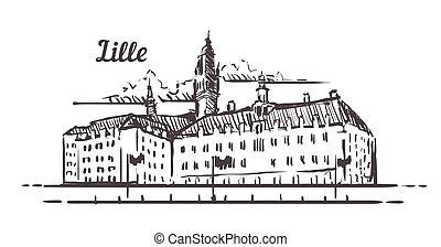 francia, mano, lille, disegnato, lille, illustrazione, sketch., orizzonte, isolato