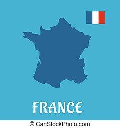 francia, mappa, bandiera, icone, appartamento