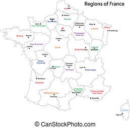 francia, mappa, contorno