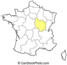 francia, mappa, evidenziato, borgogna