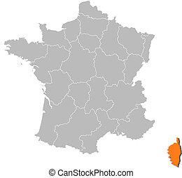 francia, mappa, evidenziato, corsica