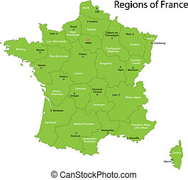 francia, mappa, verde