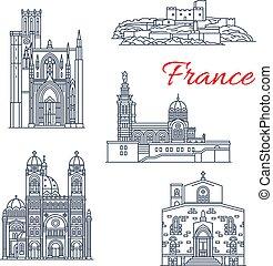 francia, marseilles, vettore, punto di riferimento, linea, icone
