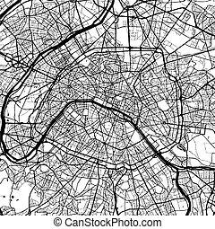 francia, monocromatico, parigi, artprint, mappa