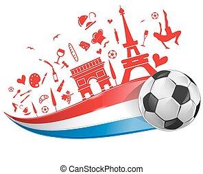 francia, palla, calcio, bandiera